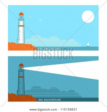 Vector Collection Set Of Banners About Lighthouse In Blue Sea