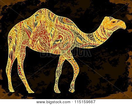 Camel decoration with oriental ornaments on black grunge background. Vintage hand drawn vector illus