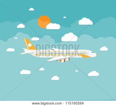 picture of a civilian plane with clouds
