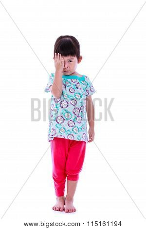 Asian Girl Reviewing Eyesight Closing Eye With Hand. Isolated On White Background. Full Body.