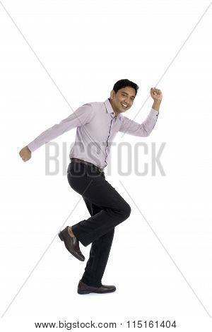 An Businessman Running Away Isolated On White Background