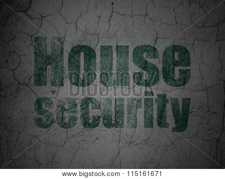 Privacy concept: House Security on grunge wall background