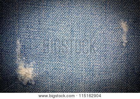 Vintage  Laceration of blue Jeans