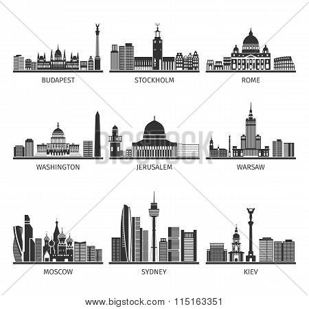 World Famous Cityscapes Black Icons Set