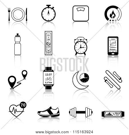 Fitness Tracker Black Icons