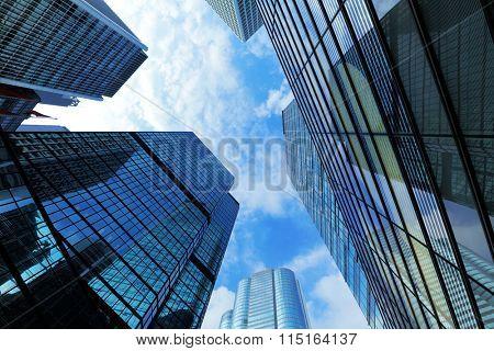Gigantic skyscraper from below in Hong Kong