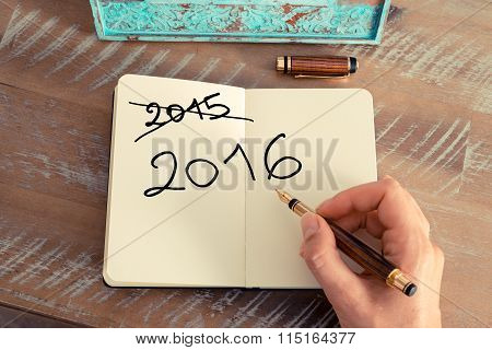 Handwritten Text Happy New Year 2016