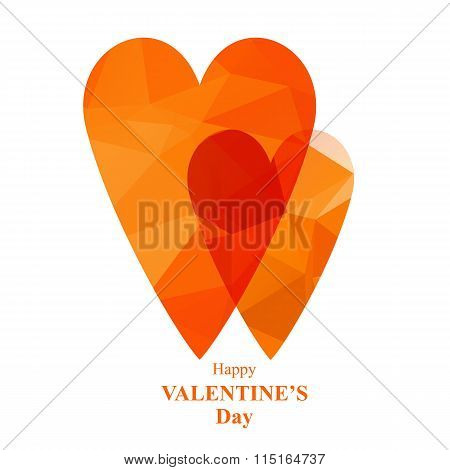 two scarlet polygonal hearts