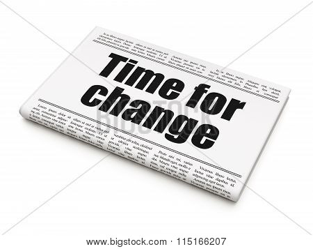 Timeline concept: newspaper headline Time for Change