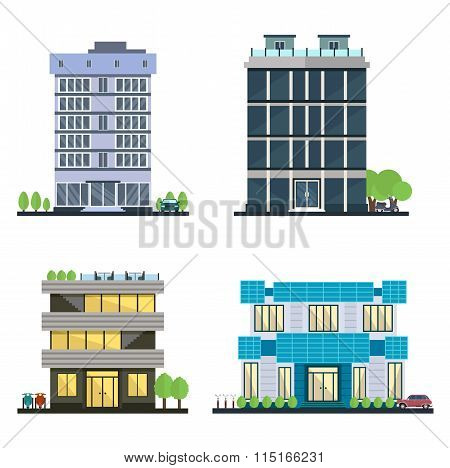 Set of vector modern business center with diverse architecture facades.Houses and office buildings i