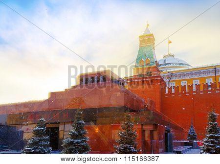 Lenin's Mausoleum winter rays of the setting sun