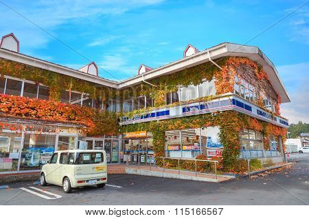 NIKKO JAPAN - NOVEMBER 17 2015: Lawson is a chain store originated in the U.S. state of Ohio. Today it exists as a Japanese company and it's the second largest convenience store after 7-11