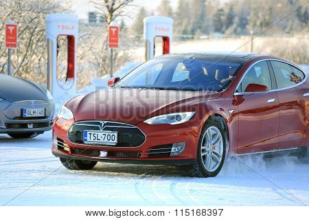 Two Tesla Model S Electric Cars In Winter