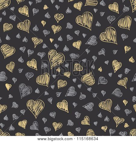 seamless vector card with pattern of heart