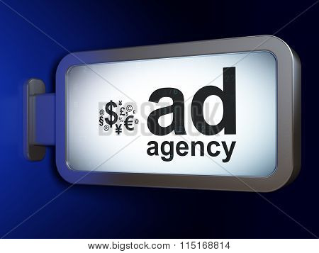 Marketing concept: Ad Agency and Finance Symbol on billboard background