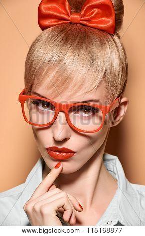 Beauty fashion woman, stylish glasses.Hipster girl