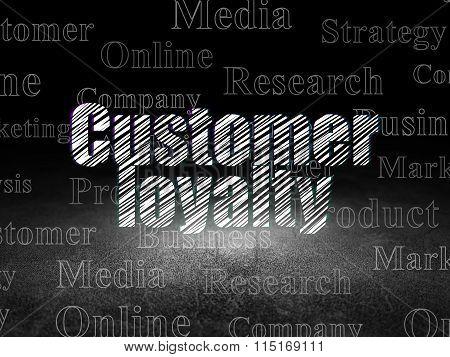 Advertising concept: Customer Loyalty in grunge dark room