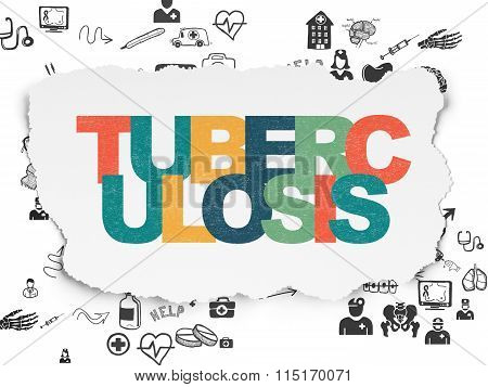 Health concept: Tuberculosis on Torn Paper background