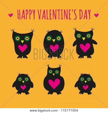 Cute black owls and owlets with big eyes and hearts on their bellies on an orange background