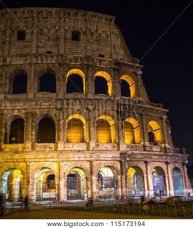 Rome Colosseum Closeup At Night