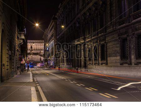 View Along Via Del Corso At Night