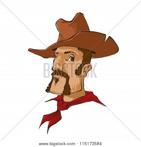 Cowboy With Brown Hat