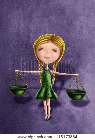 Illustration with a libra astrological sign girl