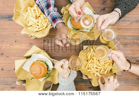 Group Of Friends Making Picnic Outdoor