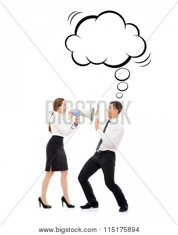 Angry and irritated business woman screaming on her employee with thinking cloud. Feminism and emancipation concept.