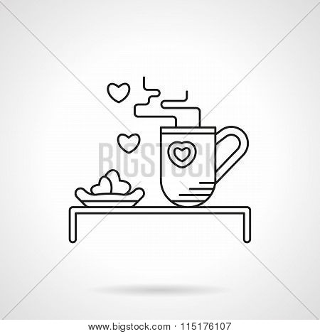 Tea for beloved flat line vector icon
