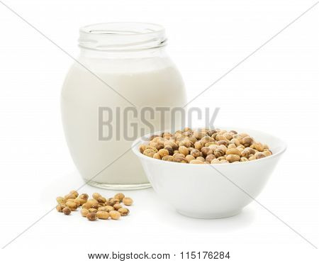 Soy milk in a glass jar
