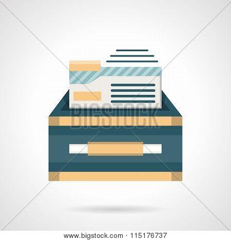 Files box flat color vector icon