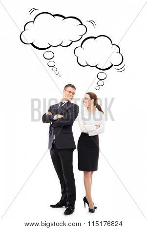 Two business colleagues with thinking clouds over isolated background.