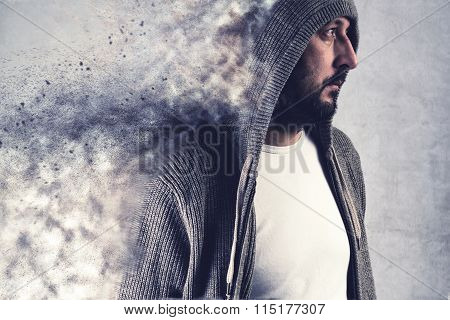Adult Man Dissolving Under Stress