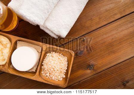 close up of natural cosmetics and bath towels