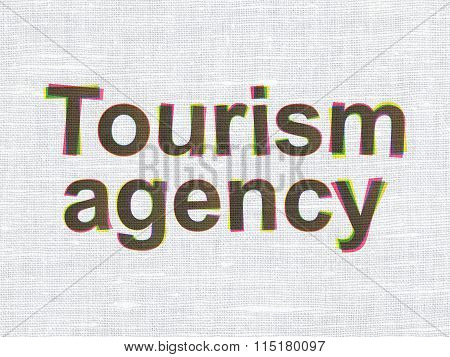 Vacation concept: Tourism Agency on fabric texture background
