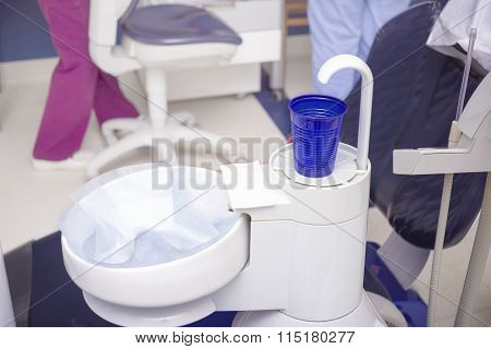 Equipment With A Glass For Rinsing Liquid At The Dentist Cabinet