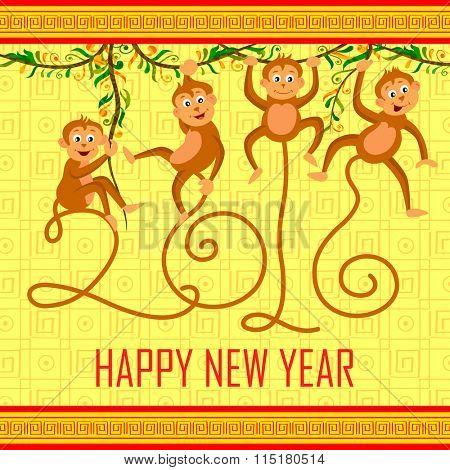 illustration of Happy Chinese New Monkey Year 2016 celebration background