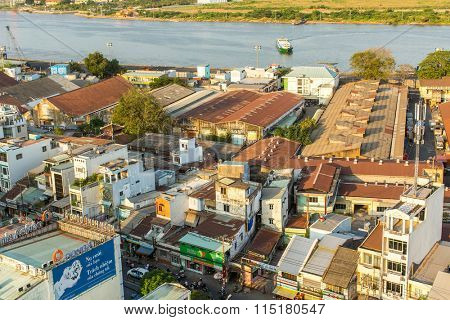 HO CHI MINH CITY, VIETNAM - JAN 12, 2016: Top view of Ho Chi Minh City. Ho Chi Minh, former Saigon, is located in the South of Vietnam, is the country's largest city, population 8 million.