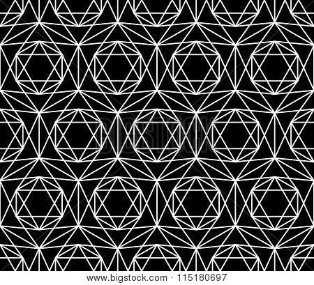 Vector modern seamless sacred geometry pattern star black and white abstract