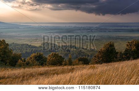 Valley Of Wild Foresttrees Grass Fields And Rain Clouds