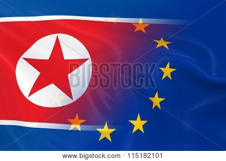 North Korean And European Relations Concept Image - Flags Of North Korea And The European Union Fadi