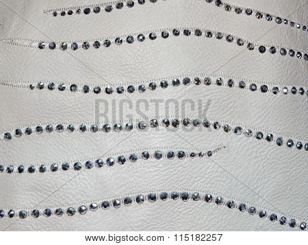 white leather with rhinestones