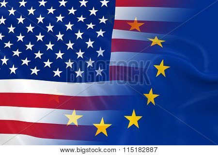 Us And European Relations Concept Image - Flags Of The United States Of America And Europe Fading To