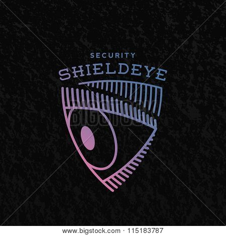Shield Eye Security Abstract Vector Sign, Symbol or Logo Template.