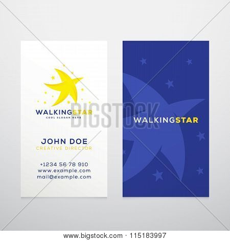 Walking Star Abstract Vector Business Card Template or Mockup.