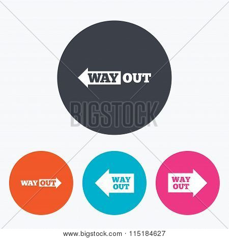 Way out icons. Left and right arrows symbols.