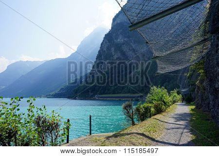 Footpath Near Rock And Lucerne Lake, Switzerland