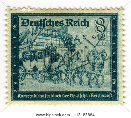 GOMEL,BELARUS - JANUARY 2016: A stamp printed in Germany shows image of the German coach, circa 1942.