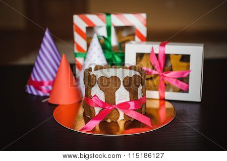 Dog Cake And Cookie In Boxes With Birthday Hat